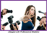 Woman with open hand facing camera and surrounded by news microphones and cameras (Staged with Professional Models).